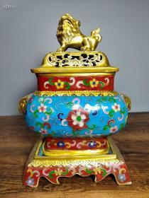 纯铜景泰蓝手工掐丝珐琅彩兽头双耳三体狮盖熏香炉供奉摆件103111
