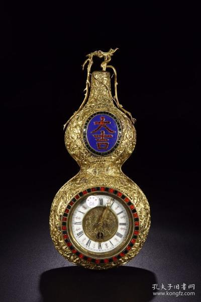 清代:宫廷铜鎏金葫芦形西洋钟