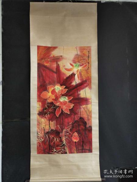 张大千手绘荷花图长2.1米宽八十公分