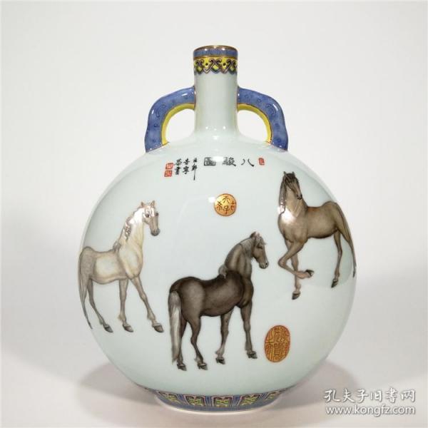 清乾隆珐琅彩郎世宁绘八骏图抱月扁瓶