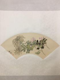 80年代朵云轩印制 赵之谦作品《秋菊图》绢本设色,原装精裱