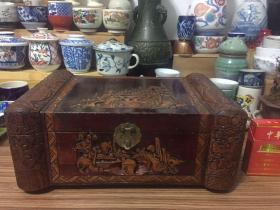 日本实木雕刻老首饰盒、化妆盒 长度30厘米 宽度19.5厘米 高度13厘米 重量1600克