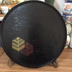 日本木胎金莳绘圆茶盘 日本名家象彦作 最近31.6厘米 高度1.7厘米
