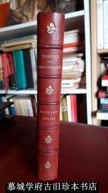 【董桥所爱伦敦著名装帧行ZAEHNSDORF皮装】【初版】烫金/竹节/毛边/英国首位诺贝尔文学奖获得者吉卜林短篇小说集《交通与发现》 Rudyard Kipling: Traffics and Discoveries