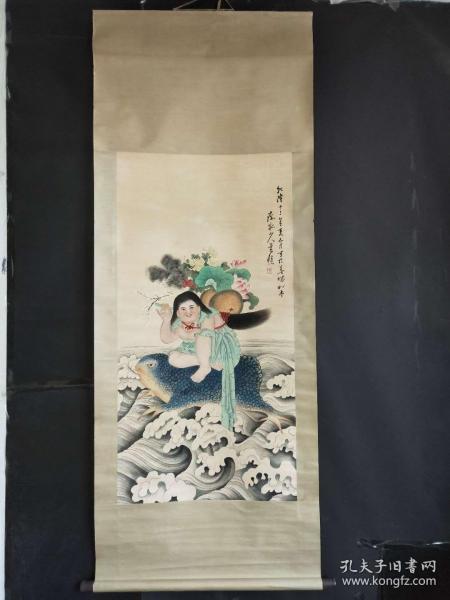 黄慎手绘画(刘海戏金蟾)2米X0.80米