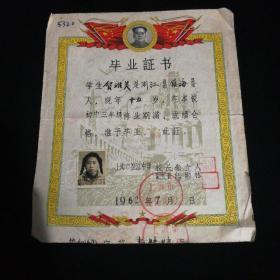 中学毕业证书(1962.7)