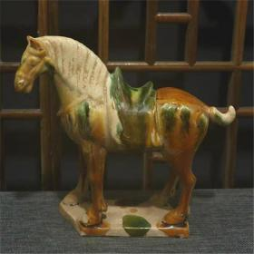唐三彩绿马雕塑