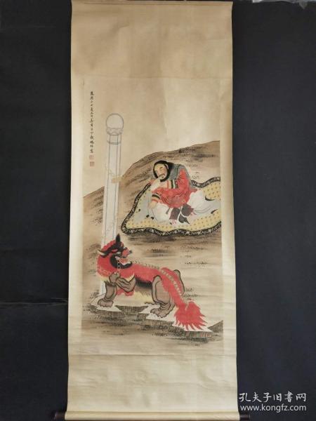 丁观鹏手绘人物画长2米宽80公分