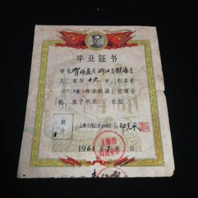 中学毕业证书(1961.7)