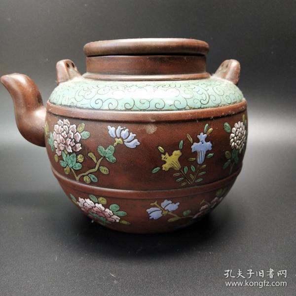 明清彩绘老紫砂壶