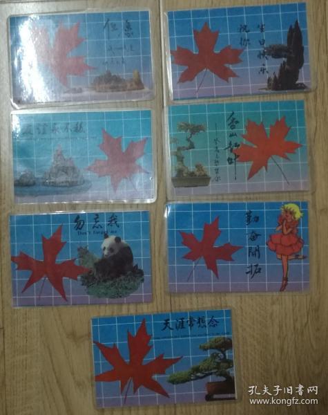 枫叶塑封生肖卡片7张