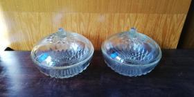 老玻璃 盖碗 —— 好品一对!