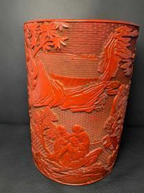 旧藏 清乾隆款剔红漆雕十八罗汉纹笔筒