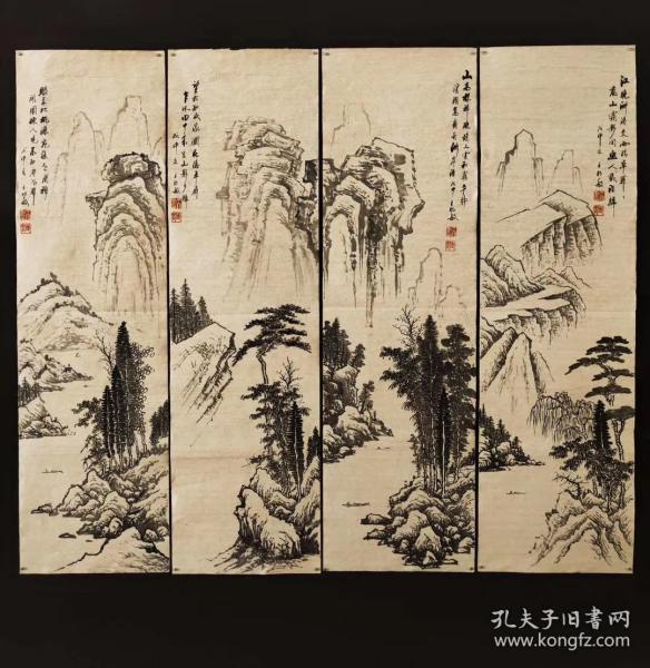 明末清初画家王时敏山水四扇屏单幅尺寸:92*27cm