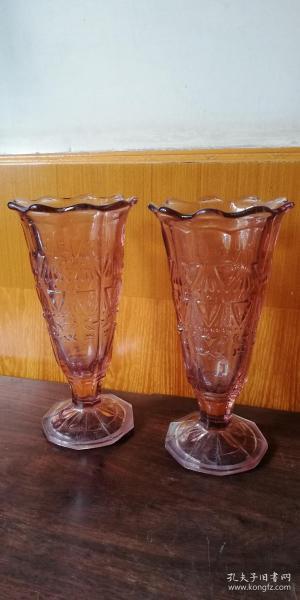 老玻璃花瓶(一对)!