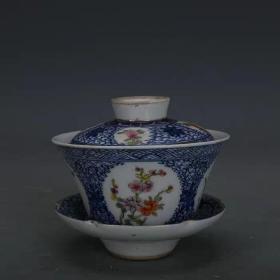 青花斗彩马蹄杯茶杯