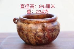 高古玉罐,做工精致考究,玉质细腻莹润,雕刻精致,沁色自然,包浆自然厚重,直径9厘米,高5厘米,重234克