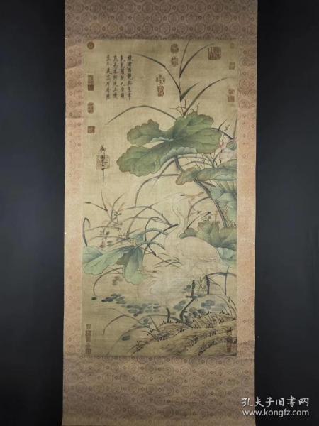 宋徽宗纸本立轴,整幅尺寸218*80公分,画心尺寸131*64公分。清宫三希堂裱存精品。