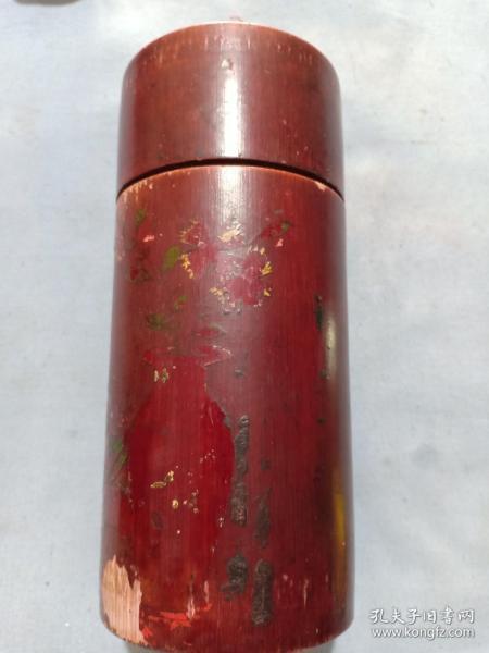 (店)晚清 竹木《茶桶》,上红漆,手绘漆画,磨损严重,16*7.5cm
