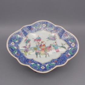 人物仿古果盘 民国粉彩家用盘子 日用手绘家居瓷器精品