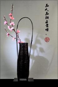 日本古董收藏品花道花器花瓶插花竹器手工竹编竹篮摆件真品包邮