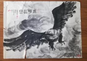 手绘真迹国画:天津作家、画家穆宜林《鹰击长空》