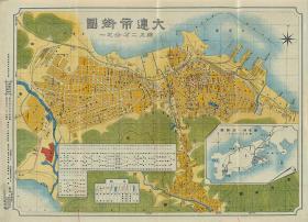 1928大连市街图复古装饰画民宿客厅办公室Dalian map辽宁老地历史复制版民国