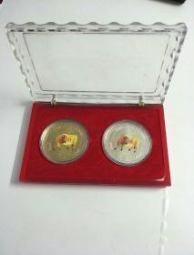 金牛送福(1OZ,纪念章,2枚合售)
