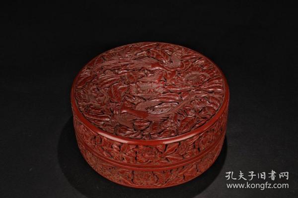 清代:【老剔红漆凤凰牡丹盖盒】