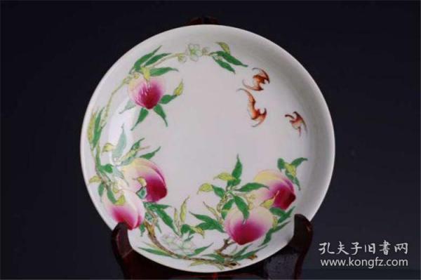 清雍正官窑珐琅彩过枝桃五福八桃纹笔洗茶盘