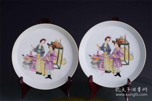 清雍正官窑珐琅彩人物故事纹公主王子赏古图笔洗茶盘