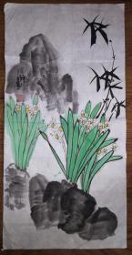 手绘真迹国画:陈静花鸟画09(2尺x1尺)