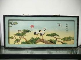 精美天然贝材,手工雕制贝雕画——松鹤同春,低价出售——80年代出口创汇产品,当时出口价达好几百美元