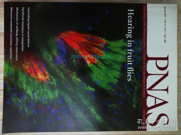 PNAS 2013/01/2美国国家科学院院刊学术论文原版期刊外文杂志  Proceedings of the National Academy of Sciences of the United States of America    (Hearing in fruit flies)
