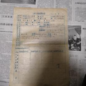 1951年,土改工作队员登记表