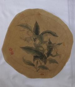 手绘绢本贾广健印款花卉小品