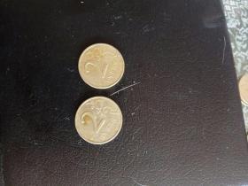 外国硬币,双鹰2元,1997/1998两枚。不懂。实物如图。流通币