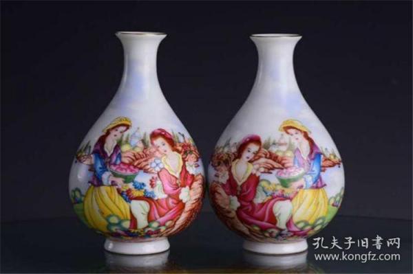 清乾隆官窑珐琅彩西洋人美人图玉壶春瓶