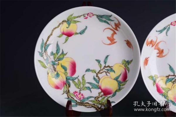 清雍正珐琅彩蝠桃纹五福八桃笔洗茶盘