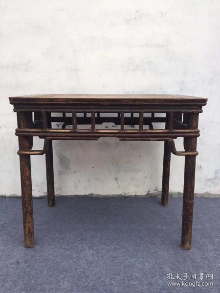 书桌,榆木,清代,缠丝腿,罗锅撑,顶压撑,黑红漆,圆角,圆腿,尺寸96/60/84,古代官家之用,完美牢固,
