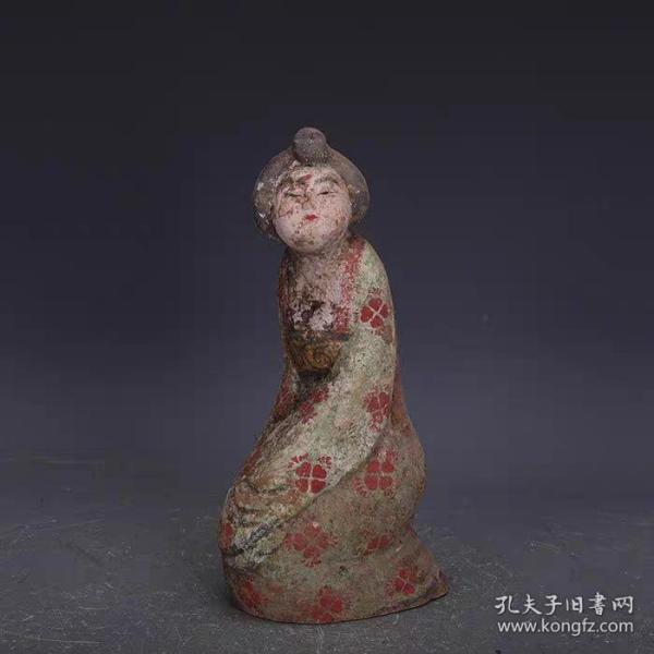唐彩绘雕塑舞女美人佣