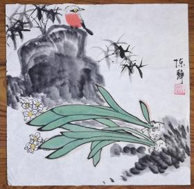手绘真迹国画:陈静花鸟画03(1尺x1尺)