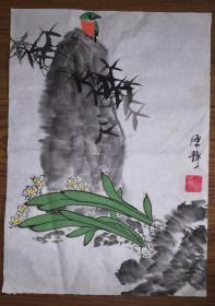 手绘真迹国画:陈静花鸟画06(1.5尺x1尺)