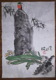 手绘真迹国画:陈静花鸟画07(1.5尺x1尺)