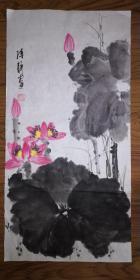 手绘真迹国画:陈静花鸟画12(2尺x1尺)