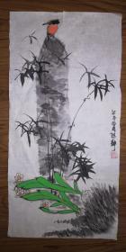 手绘真迹国画:陈静花鸟画19(2尺x1尺)