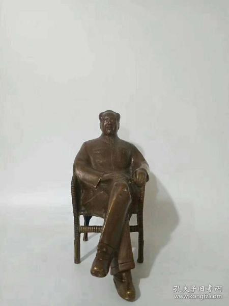 铜制毛主席坐像,品相一流,尺寸如图,红色收藏佳品,