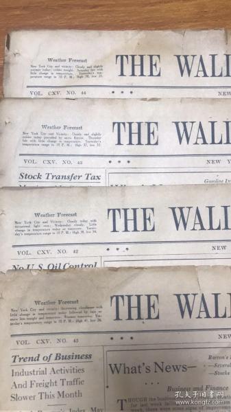 解放前军管时间1940年华尔街日报4份5000元,每份16版,涵盖政治经济,单挑1999元/份
