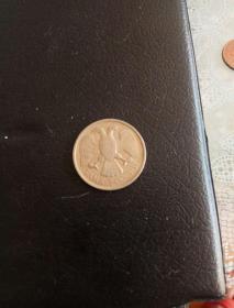 外国硬币铜币20,流通币多少钱不懂。双鹰币。实物如图。