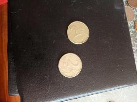 外国硬币硬币双鹰2元,不懂。实物如图。流通币